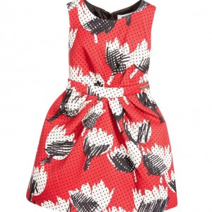 MOSCHINO KID-TEEN Red Abstract Flower Jaquard Dress