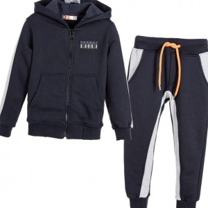 MSGM Boys Navy Blue & Grey Hooded Tracksuit