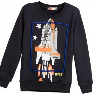 MSGM Boys Navy Blue Jersey Sweatshirt with Space Rocket