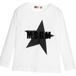 MSGM Boys White Cotton Star Logo Top