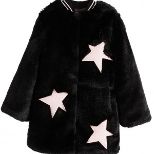 MSGM Girls Black Fur Coat with Pink Stars