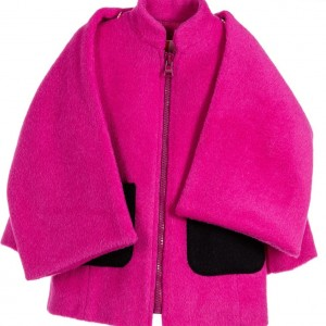MSGM Girls Pink Alpaca Wool Coat with Scarf