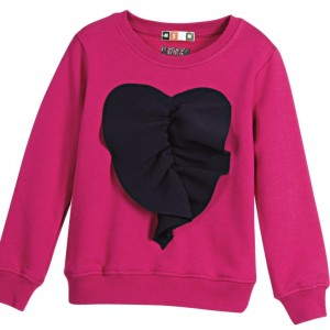 MSGM Girls Pink Jersey Sweartshirt with Navy Blue Heart
