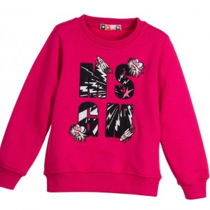 MSGM Girls Pink Jersey Sweatshirt with Logo