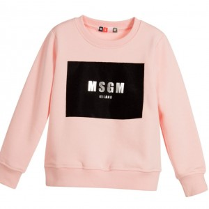 MSGM Girls Pink Jersey Sweatshirt with Silver Logo