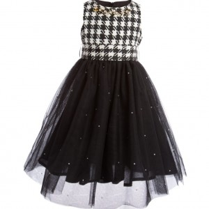 PAESAGGINO Black Houndstooth Dress with Tulle Skirt