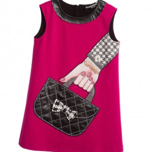 PAESAGGINO Dark Pink Jersey Handbag Print Dress