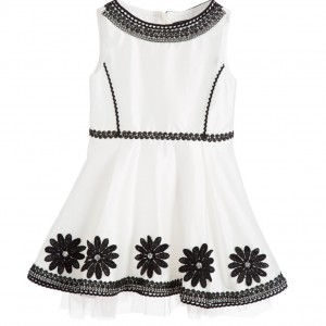 PAESAGGINO White Satin Dress with Black Embroidery