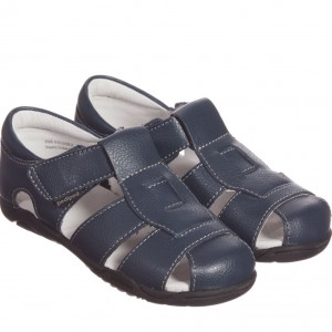 PEDIPED FLEX (1-8YR) Boys Navy Blue Leather 'Sydney' Sandals
