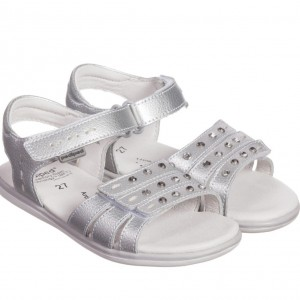 PEDIPED FLEX (1-8YR) Girls Silver Leather 'Lynn' Sandals