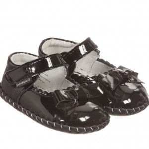 PEDIPED ORIGINALS (0-24MTH) Girls Black Leather 'Betty' Pre-Walker Shoes