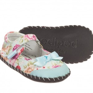PEDIPED ORIGINALS (0-24MTH) Girls Blue Floral 'Louisa' Pre-Walker Shoes