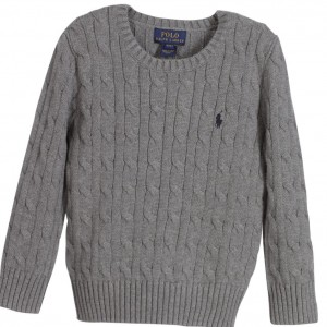 POLO RALPH LAUREN Boys Grey Cable Knit Sweater