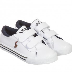 POLO RALPH LAUREN Boys White Synthetic Leather Velcro Trainers
