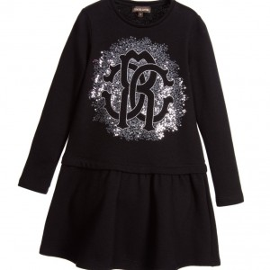 ROBERTO CAVALLI Black Dress with Silver Sequinned Logo