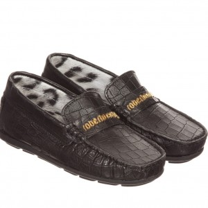 ROBERTO CAVALLI Boys Black Leather Loafer Shoes