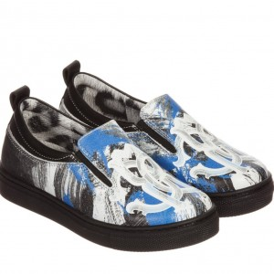 ROBERTO CAVALLI Boys Blue Leather Slip-On Trainers