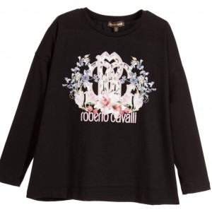 ROBERTO CAVALLI Girls Black T-Shirt with Pink Logo Print