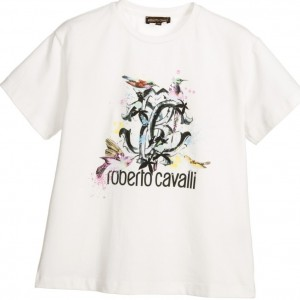 ROBERTO CAVALLI Girls Ivory RC T-Shirt with Sequins