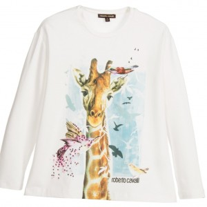 ROBERTO CAVALLI Girls Ivory T-Shirt with Sequins