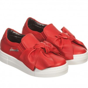 SIMONETTA Girls Red Leather Slip-On Trainers