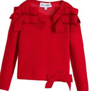 SIMONETTA Girls Red Wool Jumper with Bows
