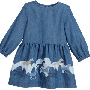 STELLA MCCARTNEY KIDS Baby Girls Blue Organic Chambray 'Skippy' Dress