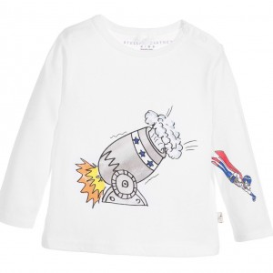 STELLA MCCARTNEY KIDS Baby White Cotton Jersey 'Georgie' Top