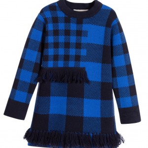 STELLA MCCARTNEY KIDS Blue Check Woll Knitted 'Autumn' Dress