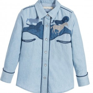 STELLA MCCARTNEY KIDS Girls Pale Blue Cotton 'Dallas' Denim Shirt