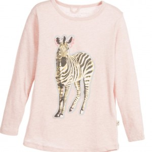 STELLA MCCARTNEY KIDS Girls Pink 'Barley' Cotton Jersey Zebra Top