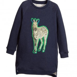STELLA MCCARTNEY KIDS Navy Blue 'Saphire' Cotton Sweatshirt Dress