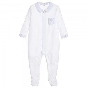 TARTINE ET CHOCOLAT Baby Boys Ivory and Blue Babygrow with Feet