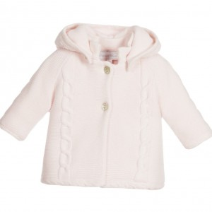 TARTINE ET CHOCOLAT Baby Girls Pink Cotton & Cashmere Knitted Pram Coat