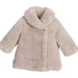 TARTINE ET CHOCOLAT Baby Girls Taupe Brown Fur Coat