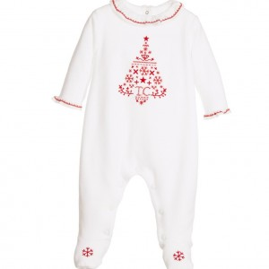TARTINE ET CHOCOLAT Baby Girls White Velour Christmas Babygrow