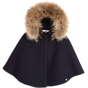 TARTINE ET CHOCOLAT Girls Navy Blue Wool Cape with Fur