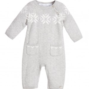 TARTINE ET CHOCOLAT Grey Cotton & Wool Knitted Babygrow