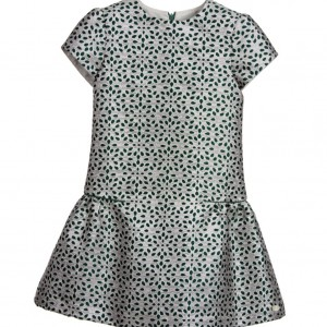 TARTINE ET CHOCOLAT Silver & Green Cotton Jaquard Dress