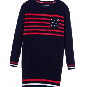 TOMMY HILFIGER Blue Cotton Sweater Dress with Stars & Stripes