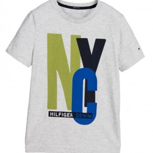 TOMMY HILFIGER Boys Grey Organic Cotton NYC T-Shirt
