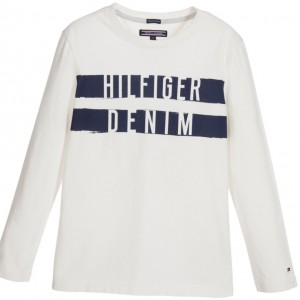 TOMMY HILFIGER Boys Ivory Organic Cotton Logo T-Shirt