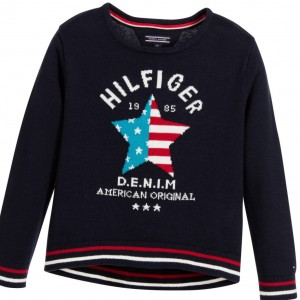 TOMMY HILFIGER Girls Navy Blue Cotton Knitted Sweater