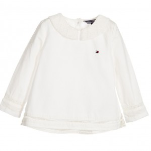 TOMMY HILFIGER Ivory Cotton Blouse with Lace Trim