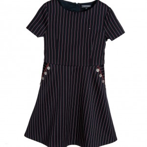 TOMMY HILFIGER Navy Blue & Maroon Pinstripe Viscose Dress