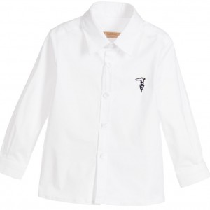TRUSSARDI Baby Boys White Cotton Shirt