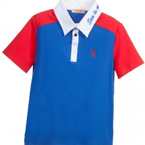 TRUSSARDI Boys Blue Cotton Polo Shirt