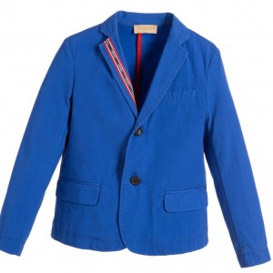 TRUSSARDI Boys Blue Cotton Twill Blazer