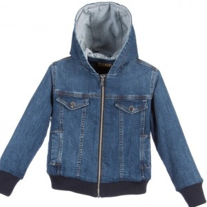 TRUSSARDI Boys Blue Denim Jacket with Hood
