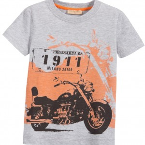 TRUSSARDI Boys Grey Cotton T-Shirt with Motorbike Logo